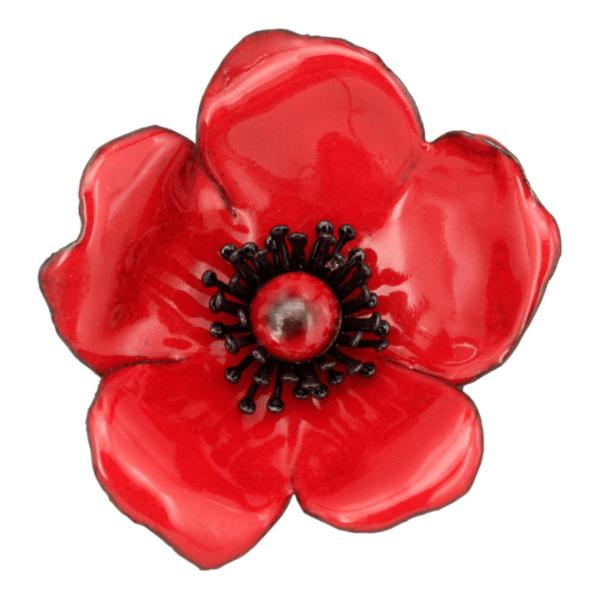 Petite rose rouge émaillage grand feu aux étamines noires