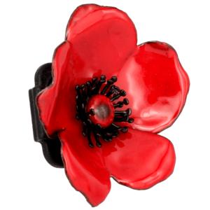 Emaillierte Brosche-pin. Rote Wildrose Agatha WR2_1